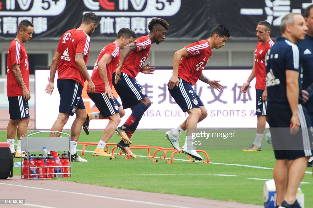 Players of FC Bayern Muenchen in action during a training session ahead of 2017 International Champions Cup China between FC Bayern Muenchen and Arsenal at Shanghai Stadium on July 18, 2017 in Shanghai, China.
