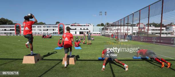 Players of FC Bayern Muenchen practice during a training session at the club's Saebener Strasse training ground on July 12 2018 in Munich Germany