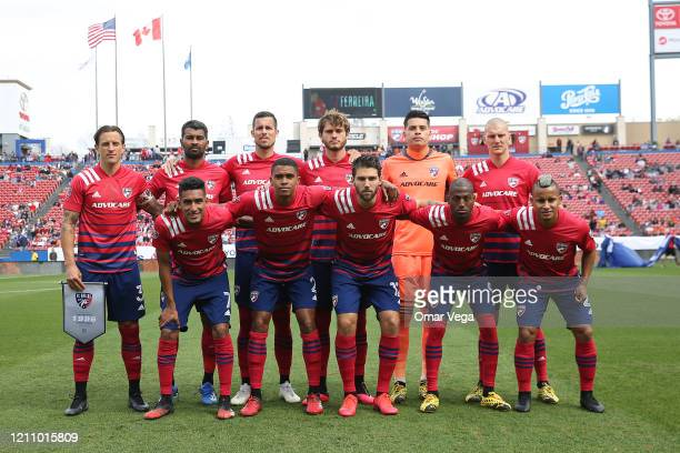 Players of FC Dallas pose for photo during an MLS match between FC Dallas and Montreal Impact at Toyota Stadium on March 7 2020 in Texas City Texas