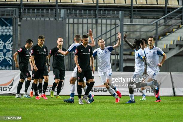 Players of FC Dynamo Kyiv celebrate upon scoring during a Ukrainian Premier League Matchday 26 game against FC Zorya Luhansk at the Slavutych Arena,...