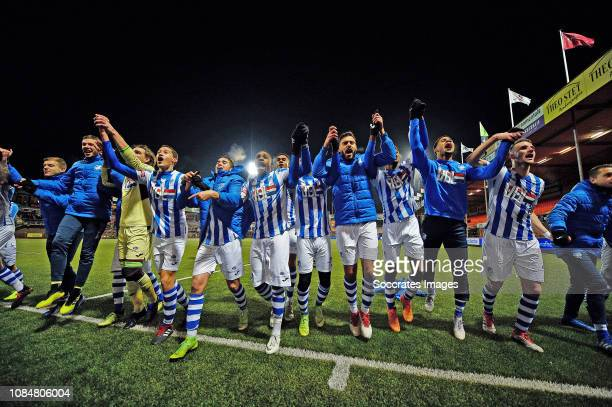 Players of FC Eindhoven celebrating the victory during the Dutch Keuken Kampioen Divisie match between FC Volendam v FC Eindhoven at the Kras Stadium...