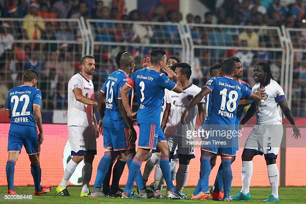 Players of FC Goa and Chennaiyin FC in action during ISL Final match at Jawaharlal Nehru Stadium on December 20 2015 in Margao India