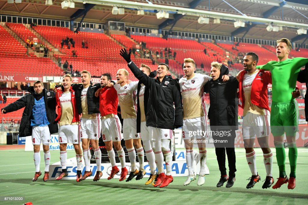 Players of FC Ingolstadt 04 celebrate with their supporters after the Second Bundesliga match between 1. FC Nuernberg and FC Ingolstadt 04 at Max-Morlock-Stadion on November 6, 2017 in Nuremberg, Germany.