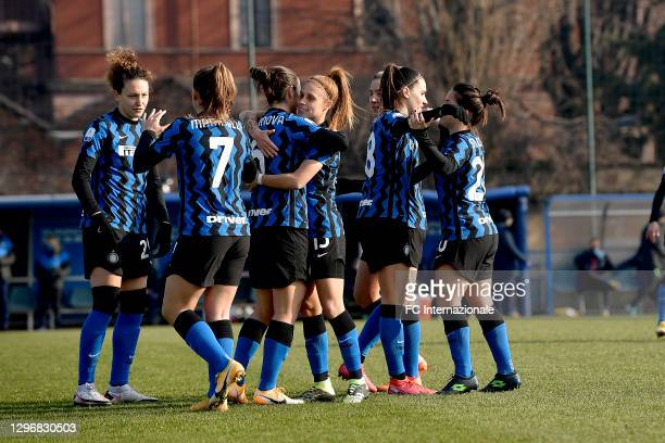 Players of FC Internazionale before the Women Serie A match between FC Internazionale and Juventus at Suning Youth Development Centre in memory of...