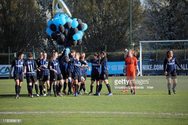 Players of FC Internazionale celebrate after the victory of the Women Serie B match between FC Internazionale Women and Arezzo at Suning Youth...