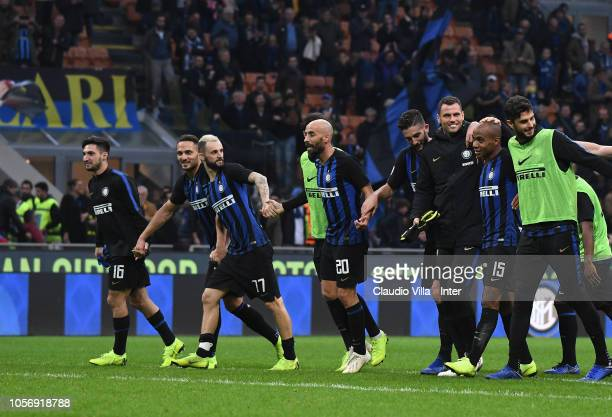 Players of FC Internazionale celebrate at the end of the Serie A match between FC Internazionale and Genoa CFC at Stadio Giuseppe Meazza on November...