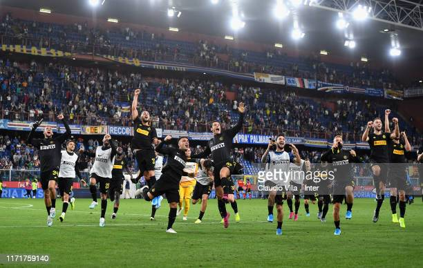 Players of FC Internazionale celebrate at the end of the Serie A match between UC Sampdoria and FC Internazionale at Stadio Luigi Ferraris on...