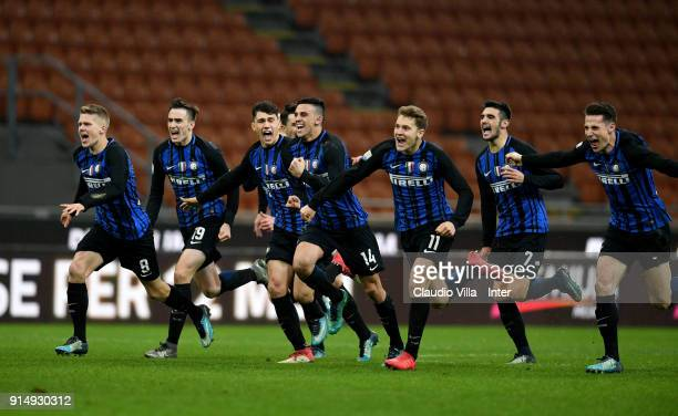 Players of FC Internazionale celebrate at the end of the UEFA Youth League match between FC Internazionale U19 and Spartak Moscow U19 at Stadio...