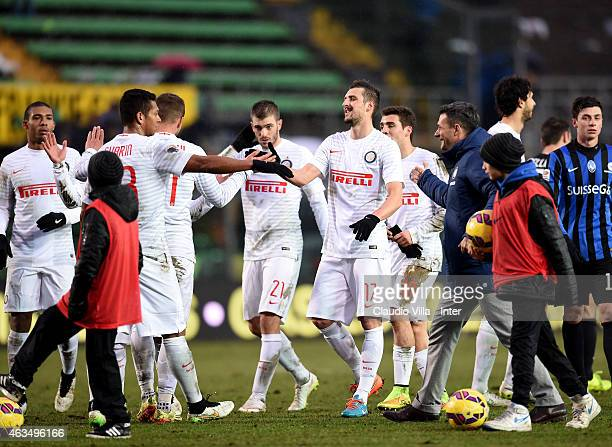 Players of FC Internazionale celebrate at the end Serie A match between Atalanta BC and FC Internazionale Milano at Stadio Atleti Azzurri d'Italiah...