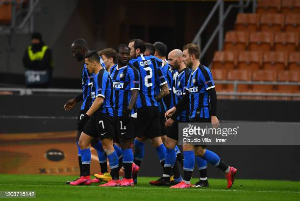Players of FC Internazionale celebrate the equalizer scored by an own goal of Georgi Terziev of Ludogorets during the UEFA Europa League round of 32...