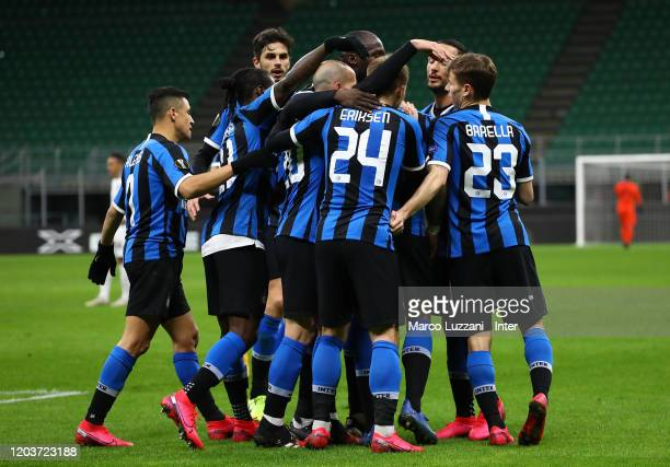 Players of FC Internazionale celebrate the equalizing goal scored by an own goal of Georgi Terziev of Ludogorets during the UEFA Europa League round...