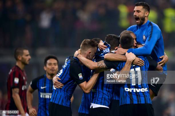 Players of FC Internazionale celebrates the victory at the end of the Serie A football match between FC Internazionale and AC Milan FC Internazionale...