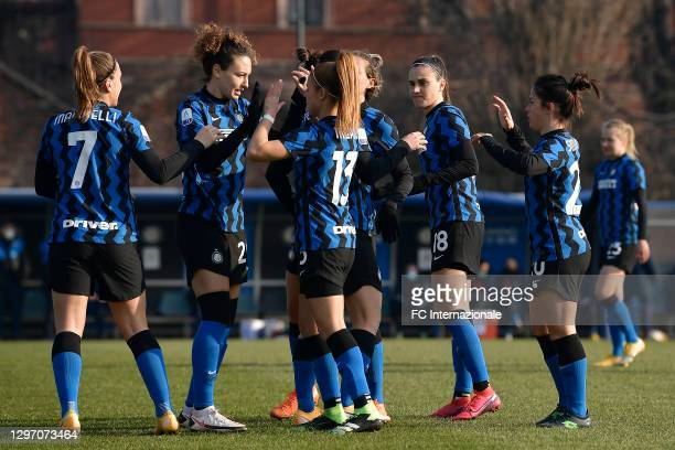 Players of FC Internazionale hug each other before during the Women Serie A match between FC Internazionale and Juventus at Suning Youth Development...