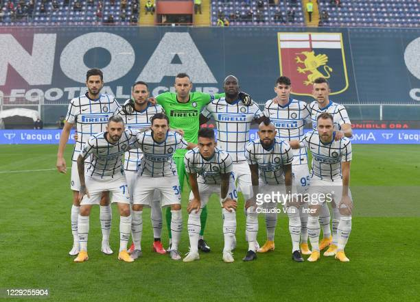 Players of FC Internazionale line up prior to the Serie A match between Genoa CFC and FC Internazionale at Stadio Luigi Ferraris on October 24 2020...