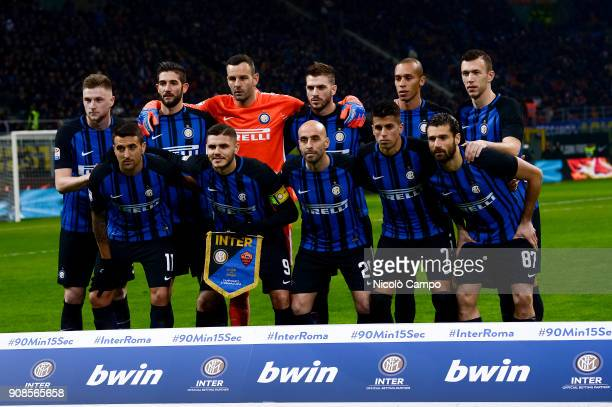 Players of FC Internazionale pose for a team photo prior to the Serie A football match between FC Internazionale and AS Roma The match ended in a 11...