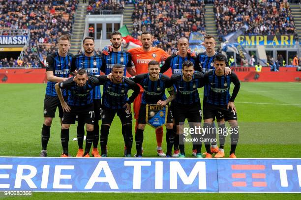 Players of FC Internazionale pose for a team photo prior to the Serie A football match between FC Internazionale and Hellas Verona FC FC...