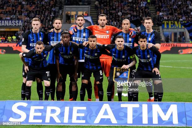 Players of FC Internazionale pose for a team photo prior to the Serie A football match between FC Internazionale and Cagliari Calcio FC...