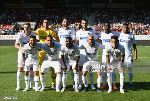 Players of FC Internazionale pose prior the pre-season friendly match between FC Sion and FC Internazionale at Estadio Tourbillon on July 18, 2018 in...