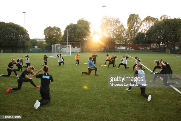 Players of FC Internazionale women in action during a FC Internazionale training session at Suning Youth Development Centre in memory of Giacinto...