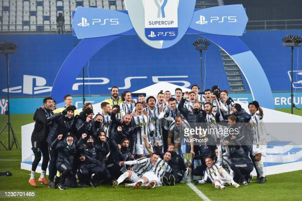 Players of FC Juventus celebrate after winning the Italian Super Cup Final match between FC Juventus and SSC Napoli at the Mapei Stadium - Citta' del...