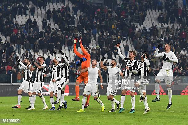 Players of FC Juventus celebrate victory at the end of the TIM Cup match between FC Juventus and Atalanta BC at Juventus Stadium on January 11 2017...