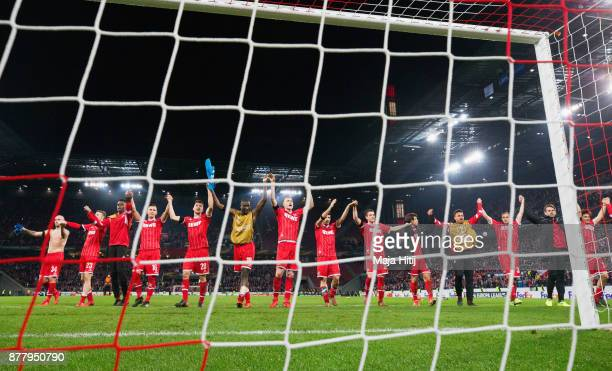 Players of FC Koeln shows appreciation to the fans after the UEFA Europa League group H match between 1 FC Koeln and Arsenal FC at...