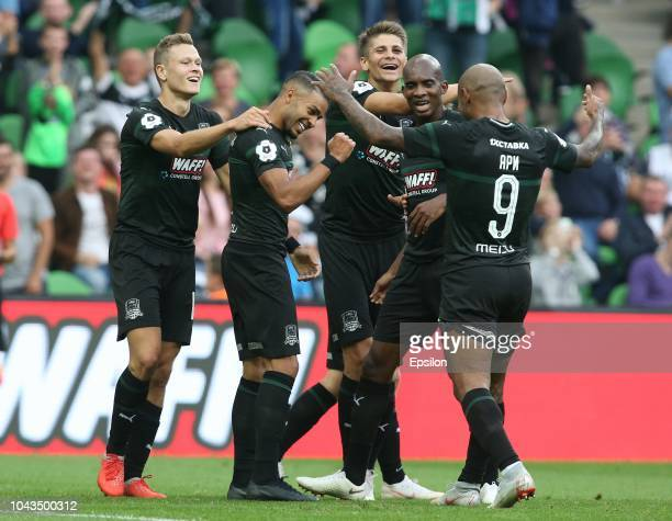 Players of FC Krasnodar celebrates after scoring a goal during the Russian Premier League match between FC Krasnodar v FC Dinamo Moscow at the...