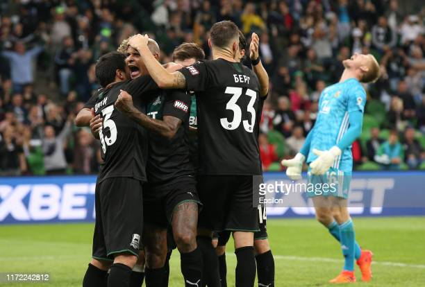 Players of FC Krasnodar celebrates after scoring a goal during the Russian Premier League match between FC Krasnodar v FC Arsenal Tula at the...