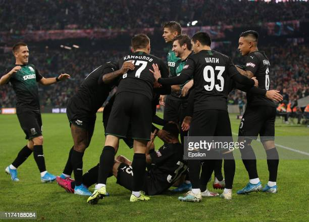 Players of FC Krasnodar celebrates after scoring a goal during the Russian Premier League match between FC Krasnodar v FC Spartak Moscow at the...