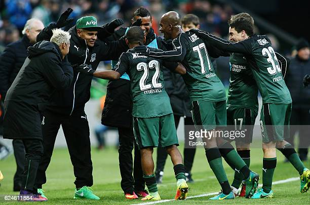 Players of FC Krasnodar celebrates after scoring a goal during the Russian Premier League match between FC Krasnodar v FC Ural Ekaterinburg at the...