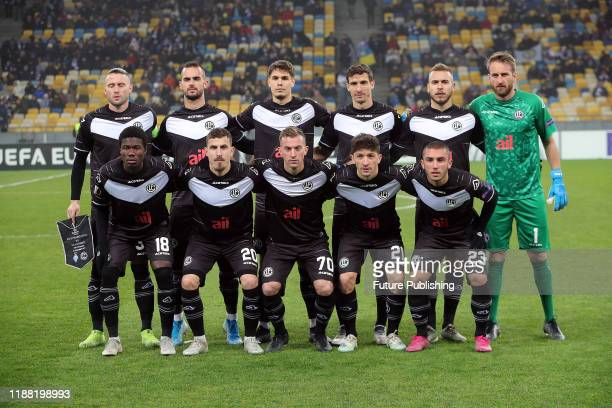 Players of FC Lugano pose for a picture before the UEFA Europa League Matchday 6 game against FC Dynamo Kyiv at the NSC Olimpiyskyi stadium, Kyiv,...