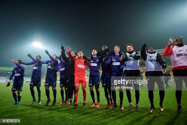 Players of FC Midtjylland celebrate after the Danish Alka Superliga match between AC Horsens and FC Midtjylland at CASA Arena Horsens on February 9...