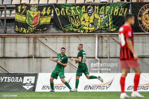 Players of FC Oleksandriia react to scoring the opener in the 40th minute during the 2021/2022 Ukrainian Premier League Matchday 1 game against FC...