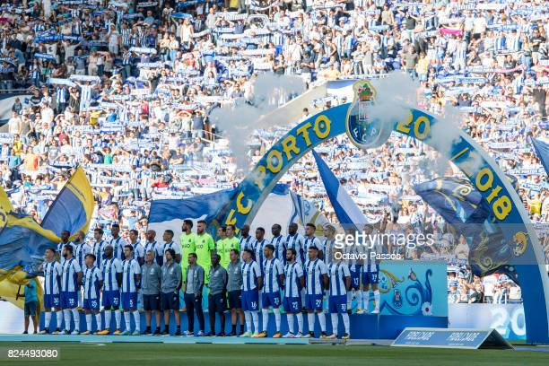 Players of FC Porto during the team presentation prior to the preseason friendly match between FC Porto and RC Deportivo La Coruna at Estadio do...