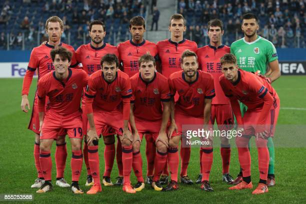 Players of FC Real Sociedad vie for the ball during the UEFA Europa League Group L football match between FC Zenit Saint Petersburg and FC Real...