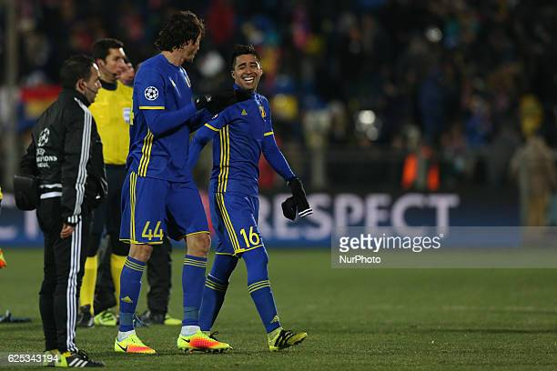 Players of FC Rostov César Navas and Christian Noboa celebrates during the UEFA Champions League Group D football match between FC Bayern Munich and...