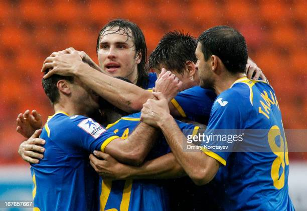 Players of FC Rostov RostovonDon celebrate after scoring a goal during the Russian Premier League match between FC Lokomotiv Moscow and FC Rostov...