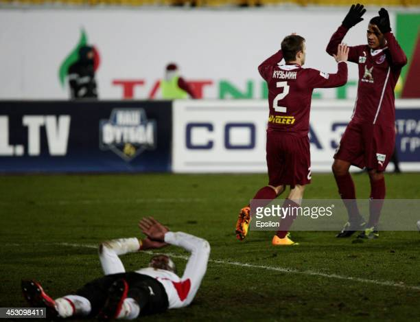 Players of FC Rubin Kazan celebrate after scoring a goal during the Russian Premier League match between FC Rubin Kazan and FC Amkar Perm at the...