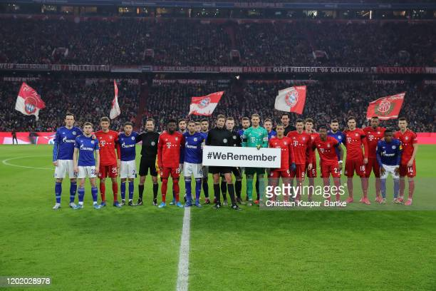 Players of FC Schalke 04 and FC Bayern Muenchen remeber the victims of Holocaust prior to the Bundesliga match between FC Bayern Muenchen and FC...