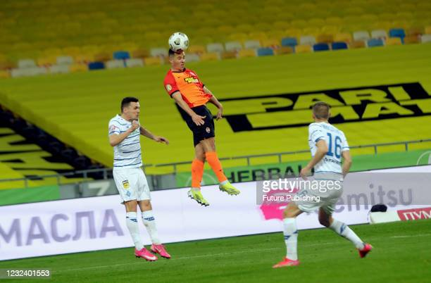 Players of FC Shakhtar Donetsk and FC Dynamo Kyiv are seen in action during the Ukrainian Premier League Matchday 22 game at the NSC Olimpiyskiy,...