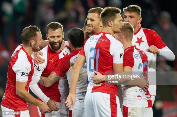 Players of FC SK Slavia Prahacelebrate a goal during the Czech First League match between SK Slavia Praha and MFK Karvina at Sinobo Stadium on...