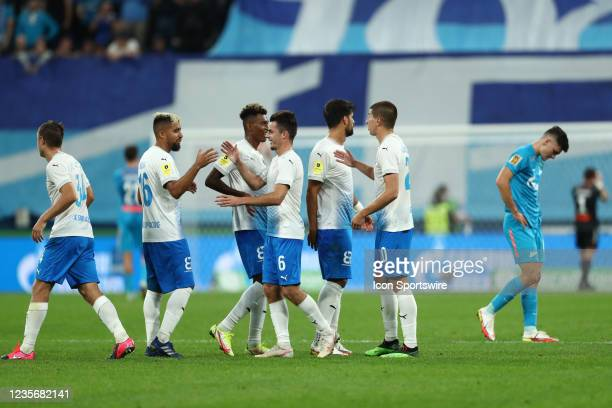 Players of FC Sochi celebrate the score during Russian Premier League match FC Sochi v FC Zenit on October 3 at Gazprom Arena in Saint Petersburg,...