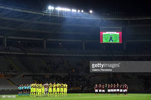 Players of FC Torino and Bologna FC stand for a minutes silence for earthquake victims during the Serie A match between FC Torino and Bologna FC at...