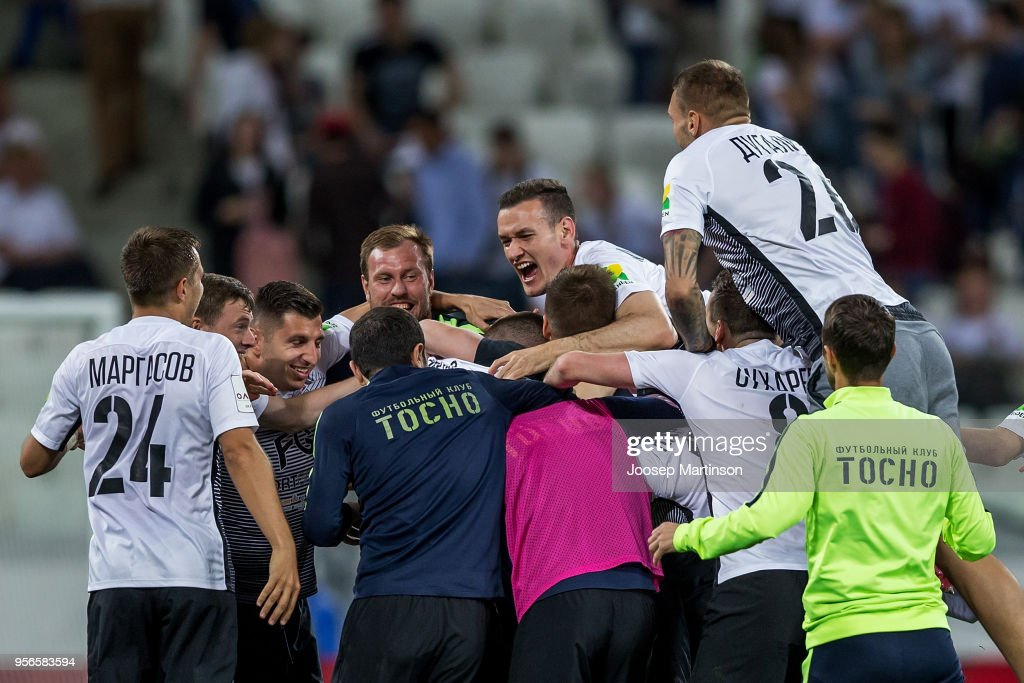 Players of FC Tosno celebrate after the Russian Cup Final match between FC Tosno and Fc Avangard at Volgograd Arena on May 9, 2018 in Volgograd, Russia.