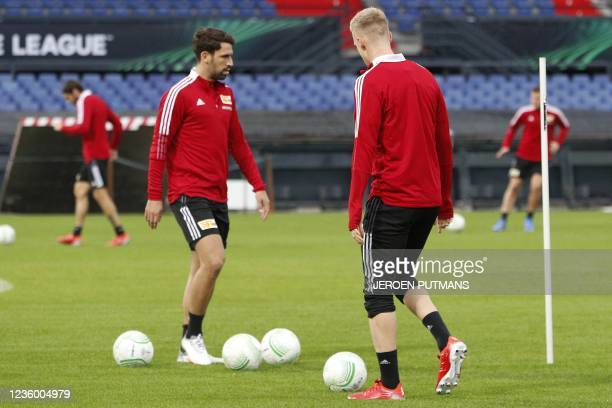 Players of FC Union Berlin attends a training session on October 20 at De Kuip stadium in Rotterdam, on the eve of the UEFA Conference League group E...