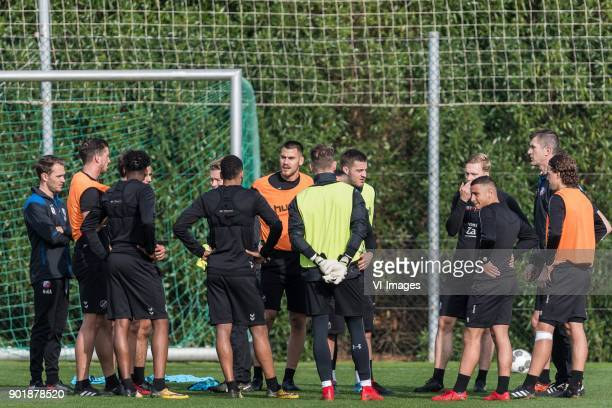 players of FC Utrecht with assistent coach Marinus Dijkhuizen of FC Utrecht during a training session of FC Utrecht at the La Manga Club Resort on...