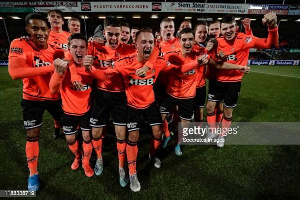 Players of FC Volendam celebrates the 2nd period title during the Dutch Keuken Kampioen Divisie match between FC Volendam v MVV Maastricht at the...
