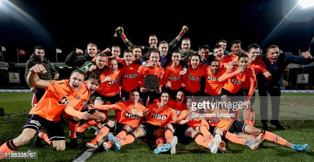 Players of FC Volendam celebrates the 2nd period title with the trophy during the Dutch Keuken Kampioen Divisie match between FC Volendam v MVV...