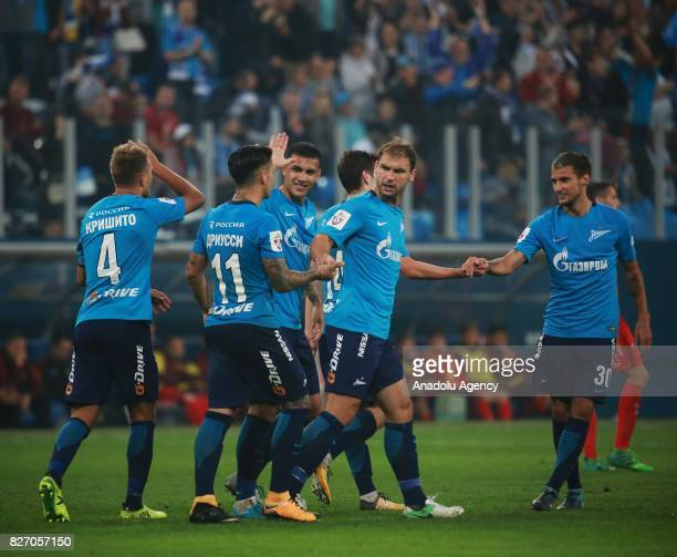 Players of FC Zenit SaintPetersburg celebrate after scoring a goal during the Russian Premiere League match between Zenit StPetersburg and FC Spartak...