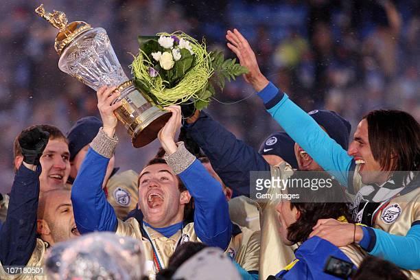 Players of FC Zenit St. Petersburg celebrate winning the Russian Football League Championship after match between FC Zenit St. Petersburg and FC...